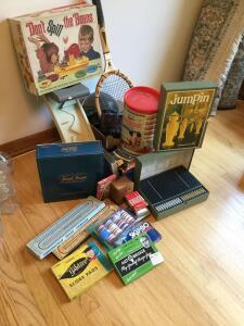 VHS tapes, Wilson tennis racket, board games, poker chips and more
