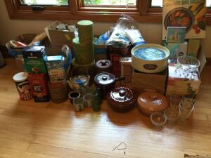 Stoneware, tea set, vintage tins, vases, hand blenders, cheese machine, Avon and more