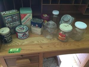 Vintage tins and spice containers, glass jars-one jar stamped Aug 28, 1900, old PB jar