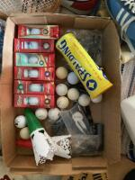 Calling all sports fanatics!! Tennis rackets, paddleball, golf balls, gloves, baseball cards, ping pong paddles and net, size 11 men's Nikes, vintage skates-possibly 7? - 3