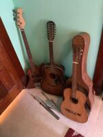 Homemade bass, Epiphone guitar, unmarked guitar w case and a music stand