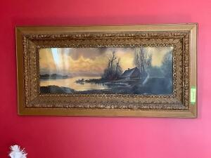 Wall art w very nice frame (minor damage) Measures 39 x 19