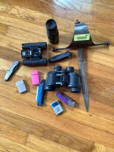 Two pair Bushnell binoculars, Bushnell 16 x 52 monocular telescope, hand dagger, knives and lighters