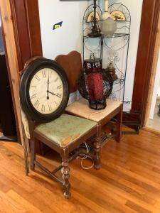 Two vintage dining chairs, retro hanging lamp, wall clock, table lamps, oil lamps, wall art and corner shelf Shelf measures 12 x 52