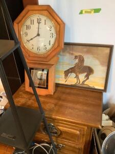 Two drawer oak veneer nightstand, 6' floor lamp, wall art and Concordia battery operated clock