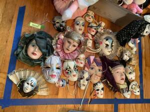Theater masks, stuffed animals and dolls