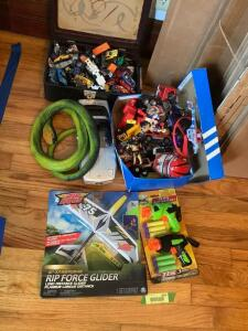 Rip Force glider, Hot Wheels type cars, large rubber snake and other boy toys