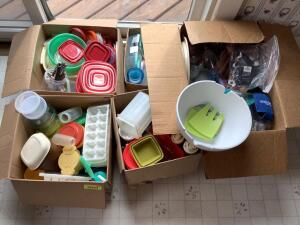 Storage containers including Tupperware and Rubbermaid, new salad bowl mixing set, ice trays, magnets, stemware and more