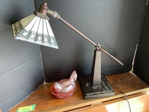 Adjustable desk lamp w Tiffany style shade and a pretty little marigold hen on nest