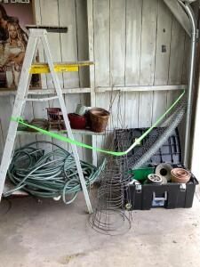Wooden painters ladder, planters, garden hose, tomato cages, hand sprayer Sterilite rolling box