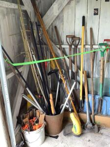 Yard tools-Weed trimmer, double sided axe, rakes, shovels, tent stakes, pruners, etc