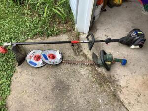 Black & Decker Hedgehog 22 electric hedge trimmer, MTD Pro gas weed whacker, and two new trimmer head replacements