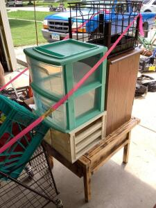 Old lady (or guy, we don't discriminate!) grocery getter, Home Town Dairy wire milk crate, totes, modern two drawer nightstand and end table w drawer that measures 25 x 22 x 18