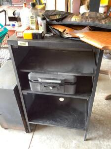 Rolling cabinet measures 18 x 11 x 24, Sentry safe (no key), three tier metal shelf measures 24 x 26 x 41, gun parts and ammo