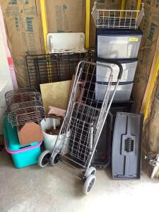 Bucket of clothes pins, storage drawers, grocery getter, cleaning caddies, wall shelf and more