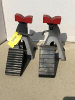 Two Sears 3 ton jack stands and a pair of wheel chocks