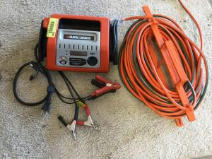 Black & Decker 10 amp battery charger Model BCS10B and quantity of drop cord