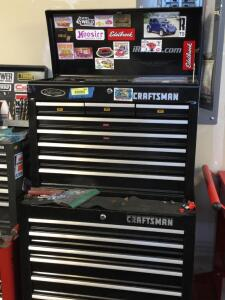 Craftsman two piece rolling tool box and contents -top piece measures 26 x 12 x 20 and bottom measures 26 x 18