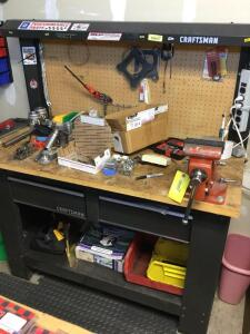 Craftsman work bench with two drawers and contents Measures 61 x 26 x 61 *Vise not included**