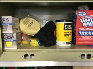 Contents of cupboard-car care items