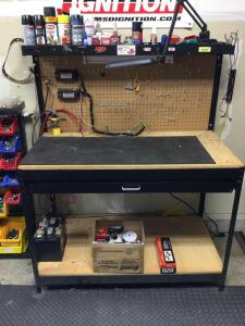 Work bench that is set up as electrical test station Measures 48 x 24 x 60 Includes all items-digital ignition tester, multi channel ignition tester s