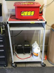 Parts washer on rolling cart w battery for power and two gallon jugs of heavy duty Non-butyl degreaser