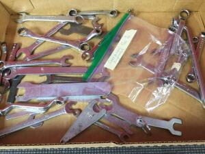 Box of loose misc. wrenches and bag of Craftsman forged alloy combination wrenches 5/32-9/32