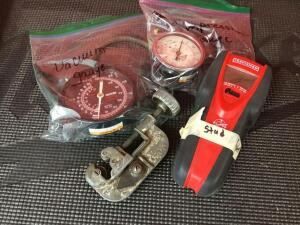 Craftsman stud finder, C clamp, vacuum gauge and Lisle compression gauge