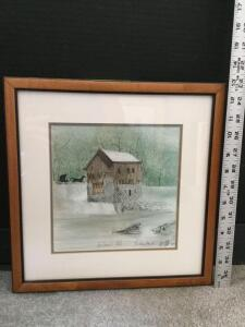 "Framed P Buckley Moss ""McConnells Mill"" S/N 200/1000 Measures 12 x 13"