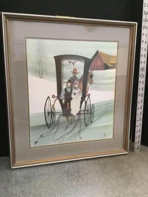 "Framed P Buckley Moss ""Hearts of Love"" S/N 617/1000 Measures 18 x 20"