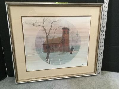 "Framed P Buckley Moss ""Little Brown Church"" S/N 131/1000 Measures 22 x 20"