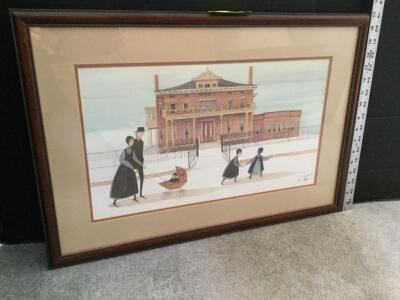 "Framed P Buckley Moss ""Sunday Walk""  S/N 507/1000 Measures 25 x 17"