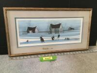 "Framed P Buckley Moss ""Skating Day"" S/N 170/1000 Measures 25 x 13  **Glass also appears to be signed**"