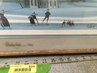 "Framed P Buckley Moss ""Skating Day"" S/N 170/1000 Measures 25 x 13  **Glass also appears to be signed** - 2"