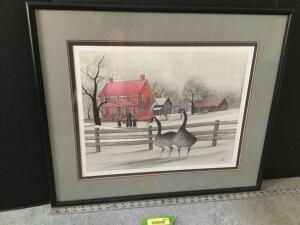 "Framed P Buckley Moss ""Amana Heritage"" S/N 55/1000 Measures 28 x 24"