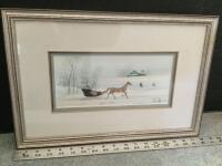 "Framed P Buckley Moss ""Winter Outing"" S/N 798/100 Measures 18 x 12"