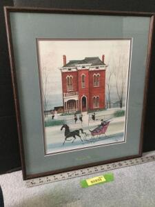 "Framed P Buckley Moss ""James Whitcomb Riley House"" S/N 636/1000 Measures 19 x 21"