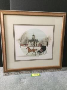 "Framed P Buckley Moss ""The Courthouse"" S/N 614/1000 Measures 23 x 21"