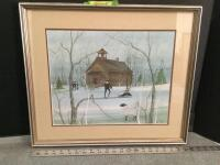 "Framed P Buckley Moss ""Country School"" S/N 48/1000 Measures 22 x 19"
