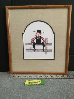"Framed P Buckley Moss ""Mike"" S/N 805/1000 Measures 11 x 13"