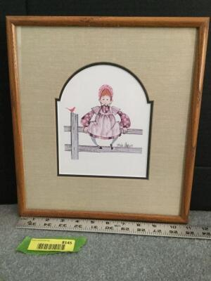"Framed P Buckley Moss ""Pat"" S/N 888/1000 Measures 11 x 13"