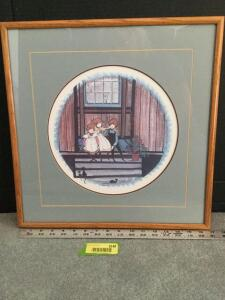 "Framed P Buckley Moss ""Playmates"" S/N 512/1000 Measures 17 x 17"