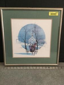"Framed P Buckley Moss ""Evening in Long Grove""  S/N 226/1000 Measures 17 x 17"