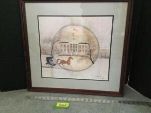 "Framed P Buckley Moss ""The Old Capitol"" S/N 810/1000 Measures 24 x 22"