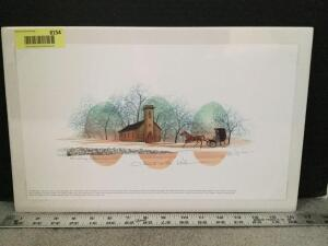 "P Buckley Moss print ""Church in the Vale"" S/N 41/1000 Measures 15 x 9"