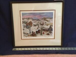 "Framed S/N Will Moses print ""Maple Syrup Season"" 325/500 Measures 17 x 15"