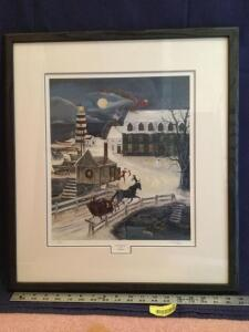 "Framed S/N Will Moses print ""Next Stop Home"" 771/1000 Measures 20 x 22"