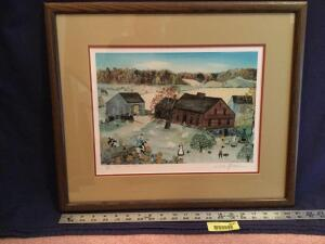 "Framed S/N Will Moses print ""Cows Are Out"" 304/500 Measures 21 x 18"