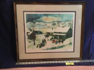 "Framed S/N Will Moses print """"Grandmas Christmas"" 416/500 Measures 23 x 20"