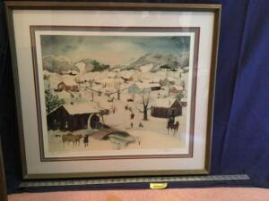 "Framed S/N Will Moses print ""Let it snow"" 116/500 Measures 30 x 26"